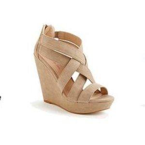 Beige Brisa Strappy Platform Sandals Wedges Heels